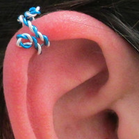 Spiral Ear Cuff - Twisted Blue & Silver, No Pierce, Beach Wedding, Prom