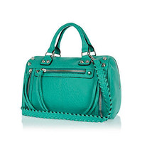 Green studded woven strap tumbled bowler bag - shoulder bags - bags / purses - women