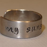 Aluminum Ring Handmade and Stamped with My Sunshine by NiciLaskin