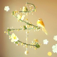 Yellow Spring Time Spiral Mobile with Perched Bird by PinkPerch