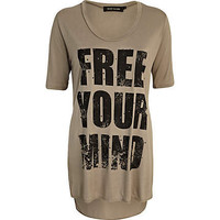 Khaki free your mind side split t-shirt - print t-shirts / tanks - t shirts / tanks / sweats - women
