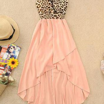 Leopard Chiffon High-Low Hem Dress