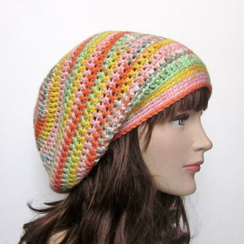 Slouchy Crochet Hat - Womens Slouch from Color My World ...