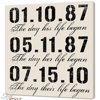 Personalized Special Dates Canvas Wall Art, Important Dates Typography Sign, Wedding Sign, 20x20