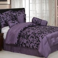 "7 Pieces Purple with Black Velvet Floral Flocking Comforter (86""x88"" in Inch) Set Bed-in-a-bag Full or Double Size Bedding"
