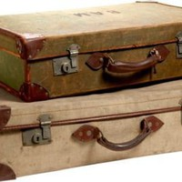 One Kings Lane - Lillian August - Vintage English Canvas Suitcases, Pair