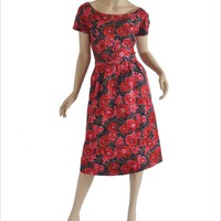 Mad Men Era 1960's Silk Floral Dress / Cocktail Dress - M