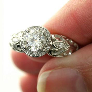 14K Vintage Diamond Halo Semi Mount Engagement Ring by RareEarth