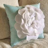 Flower Pillow -White Rose on Aqua Pillow 16x16 W/ Extra Large Rose