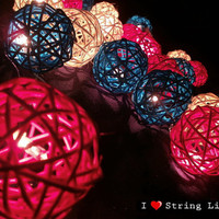 Pink Blue and White Rattan Ball String Lights For Wedding and House decoration (20 Flowers/Set)