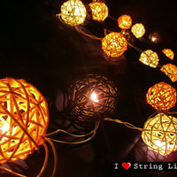 Yellow Black and White Rattan Ball String Lights For Wedding and House decoration (20 Flowers/Set)