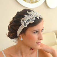 Off white lace bridal headband floral lace bridal headband wedding accessories wedding headpiece ready for the shipment