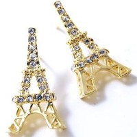 Gold Plated Sparkling Crystal Eiffel Tower Paris France Theme Stud Earrings