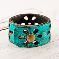 Turquoise Jewelry Leather Cuff Flower Bracelet by rainwheel