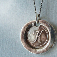 Personalized Necklace. Wax Seal Letter Initial. Fine Silver Monogram. Wax Seal Personalized Jewelry