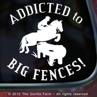 ADDICTED BIG FENCES Cross Country 3 Day Horse Window Car Decal Sticker WHITE