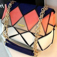 Bestgoods  [Grlhx120036]Unique Geometry Colorful Shoulder Bag