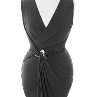 Plus Size Designer Sleeveless Pin Wrap Black Dress, Plus Size Clothing, Club Wear, Dresses, Tops, Sexy Trendy Plus Size Women Clothes