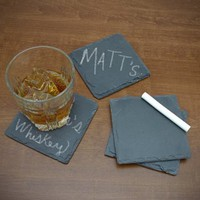 Chalk it Up Chalkboard Slate Coasters, Set of 4