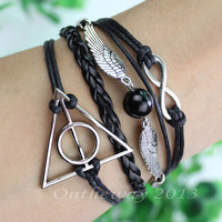 Deathly hallows bracelet. Hand catenary informers. Treasure bead bracelet. Karma bracelet. Black wax rope. Black leather.
