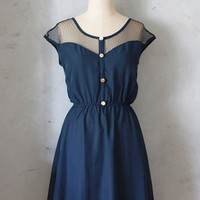 PETIT DEJEUNER DRESS - Navy blue chiffon dress with black lace neckline // retro // party // day // nautical // bridesmaid dress