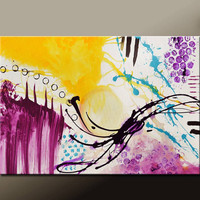 Abstract Canvas Art Painting 36x24 Original Modern Contemporary Paintings by Destiny Womack - dWo - In The Moment