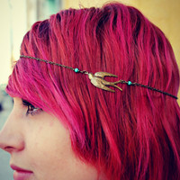 chain head piece, chain headband, bird headband, metal headband, unique headband