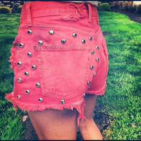 Distressed Studded Acid Washed Shorts by UrbanEclectics on Etsy