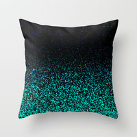 Mint Sparkle Throw Pillow by MN Art  (NOT REAL GLITTER)