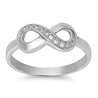 Amazon.com: Sterling Silver Infinity Ring with Cubic Zirconia - Available Size 5, 6, 7, 8, 9, 10: Jewelry