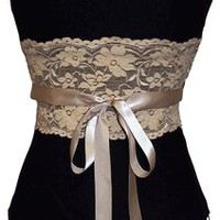 Black Bustier Top with Mocha Lace | Strapless Tops