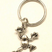 Frog Charm Key Ring Key Chain or Zipper Pull with Silver Frog Charm