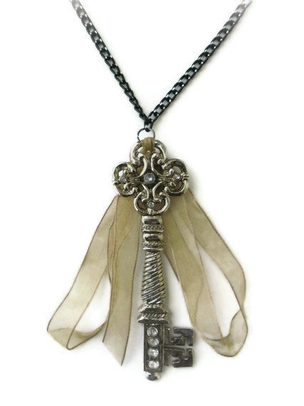 HUGE Rhinestone Key Necklace  Harry Potter by DeathwishDesign