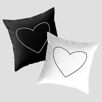 Black and White Heart Pillows by MN Art | Society6