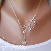 Bud Branch and Little Bird Lariat  silver grey by morganprather