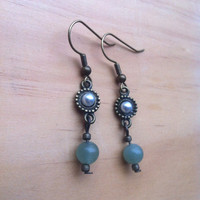 Pearl and Aventurine Drop Earrings
