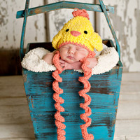 pdf crochet pattern( how to tutorial) baby chick hat size newborn- 1 years