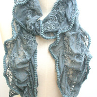 Pom Pom  Lace Scarf  Trendy Ruffle Dark Slate Grey Scarves Spring Summer Fashion Scarfs FREE SHIPPING Scarf   - By PIYOYO