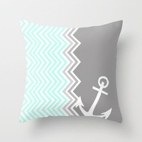 Nautical Chevron Throw Pillow by Sunkissed Laughter | Society6
