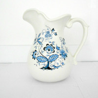 Blue Floral Pitcher Holiday Designs 1970s servingware
