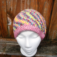 Cotton candy swirl crochet beanie hat in multicolor pastels, ready to ship