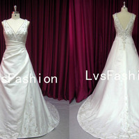 A Line Straps V Neck Court Train Satin Embroidery Vintage Wedding Dresses, Bridal Gown, Beach Wedding Dresses