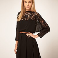 ASOS | ASOS Dblack ress with Lace Top at ASOS