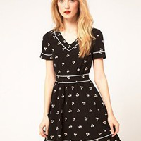 Whistles | Whistles Clover Print Dress at ASOS - black and white