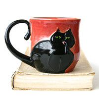 Kitty Cat Mug - Hand Thrown Ceramic Coffee Tea Cup - Black Cat Vintage Plum Salmon Coral - Ready to Ship