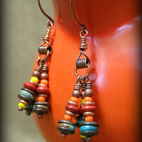 Beaded Turquoise Earrings by StoneWearDesigns
