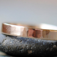 14k Gold Ring Hammered 14k Gold Wedding Ring by DalkullanJewelry