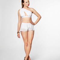 One Shoulder Keyhole Swimsuit with Peplum Bottoms