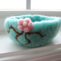 Cherry Blossom Bowl Needle Felted 100 Organic by SweetPB on Etsy
