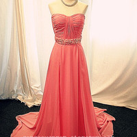 Gorgeous Pink A-line Sweetheart Floor Length Prom Dress/Graduation Dress